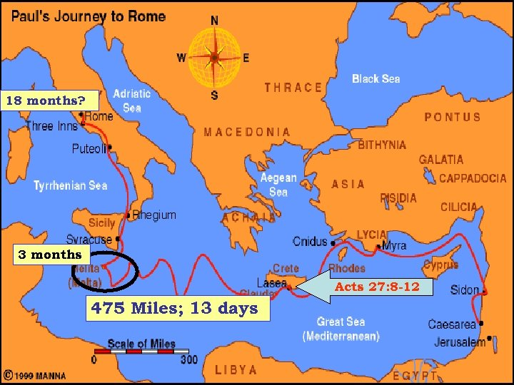 18 months? 3 months Acts 27: 8 -12 475 Miles; 13 days