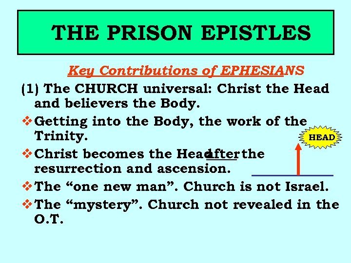 THE PRISON EPISTLES Key Contributions of EPHESIANS (1) The CHURCH universal: Christ the Head