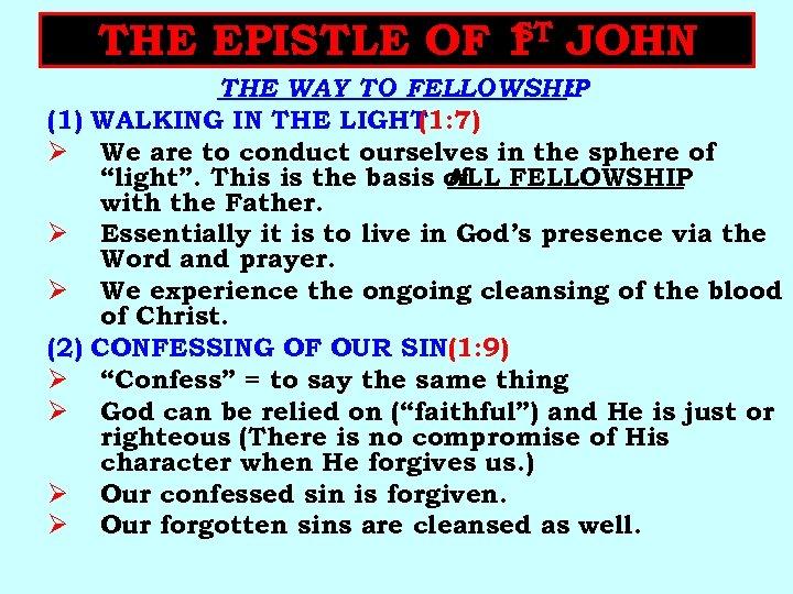 ST THE EPISTLE OF 1 JOHN (1) Ø Ø Ø (2) Ø Ø THE