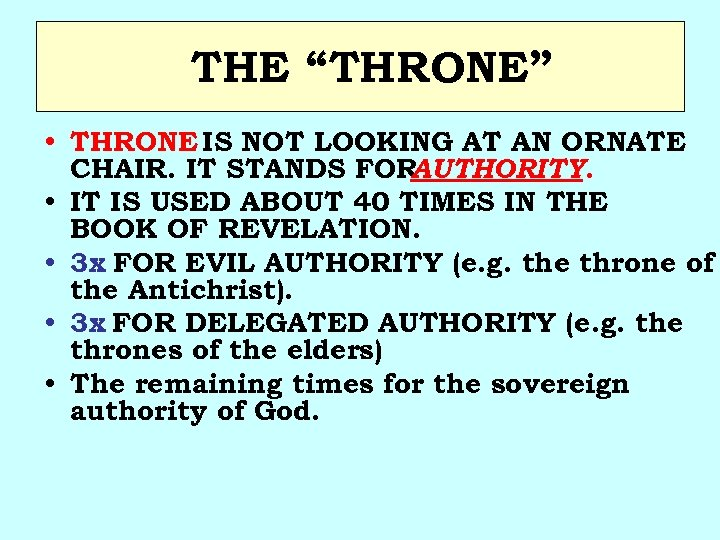 """THE """"THRONE"""" • THRONE IS NOT LOOKING AT AN ORNATE CHAIR. IT STANDS FOR"""