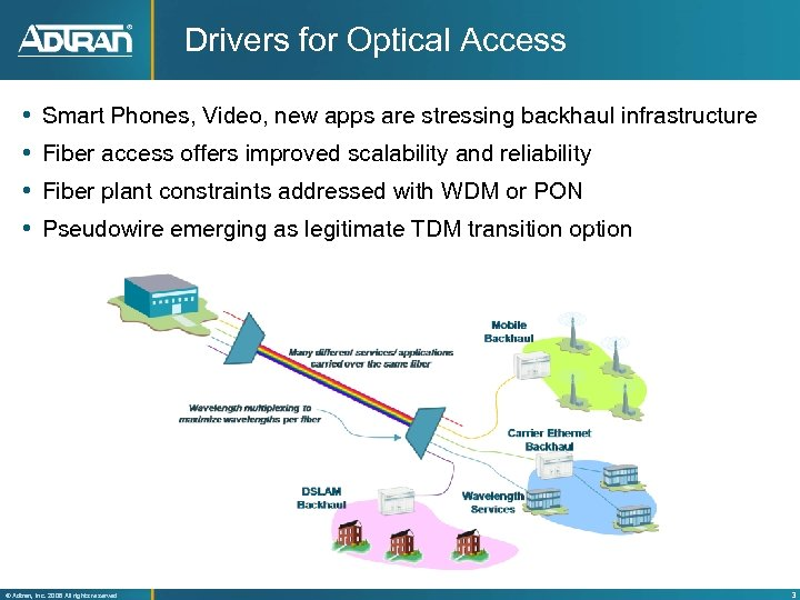 Drivers for Optical Access Smart Phones, Video, new apps are stressing backhaul infrastructure Fiber