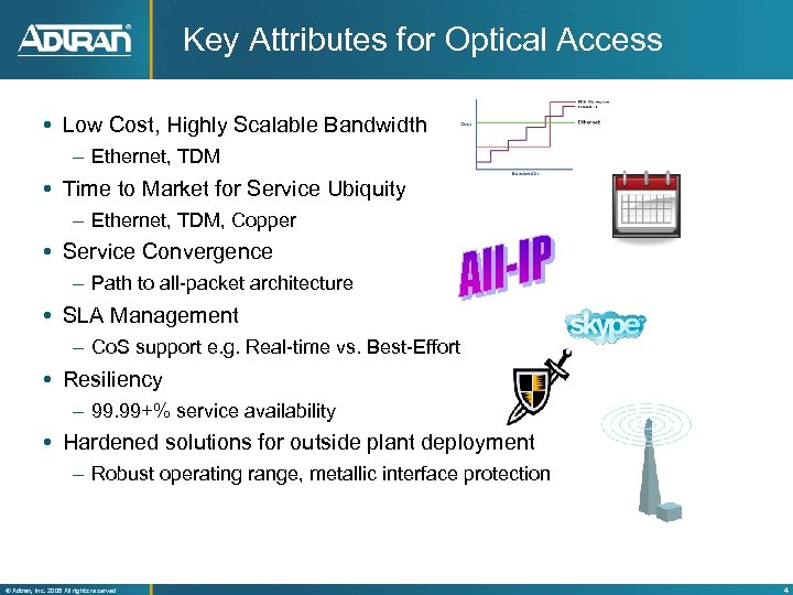 Key Attributes for Optical Access Low Cost, Highly Scalable Bandwidth – Ethernet, TDM Time