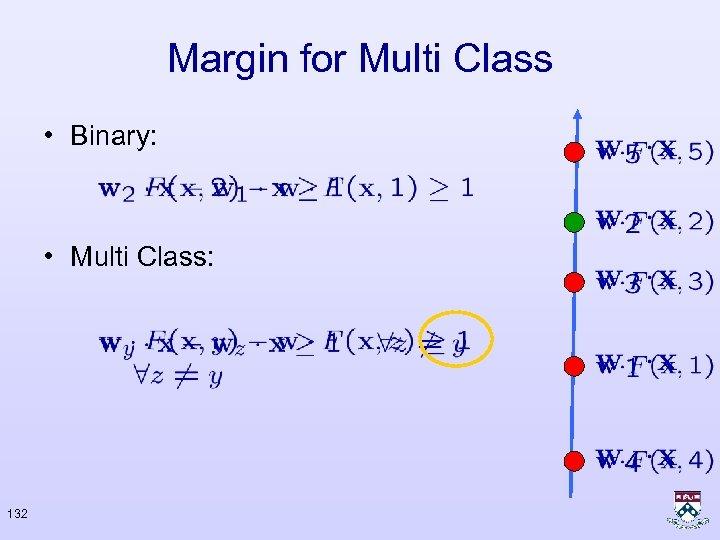 Margin for Multi Class • Binary: • Multi Class: 132