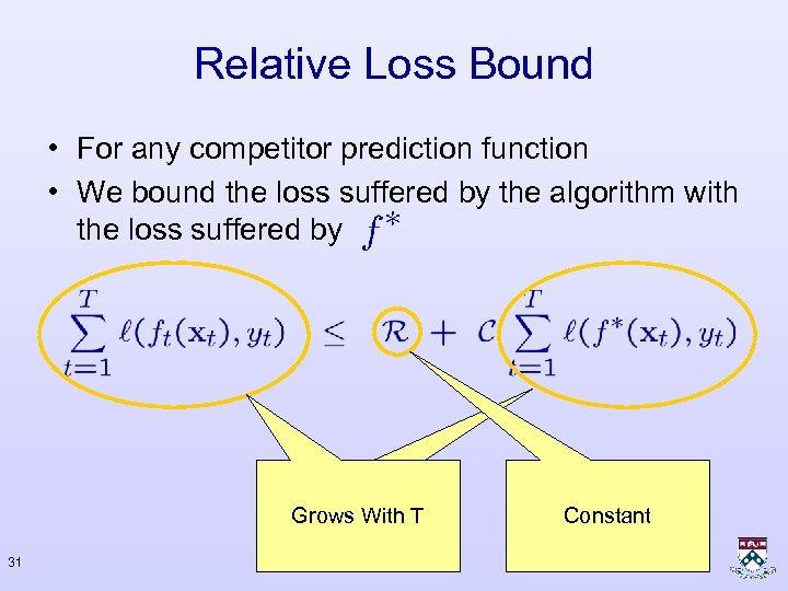Relative Loss Bound • For any competitor prediction function • We bound the loss
