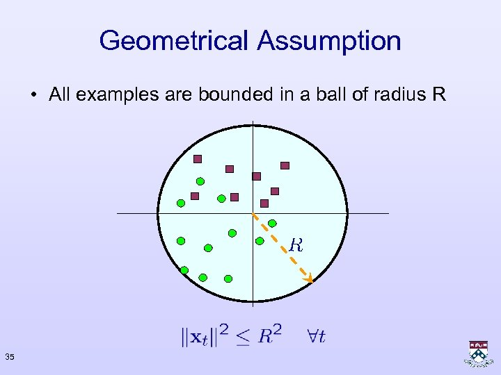 Geometrical Assumption • All examples are bounded in a ball of radius R 35
