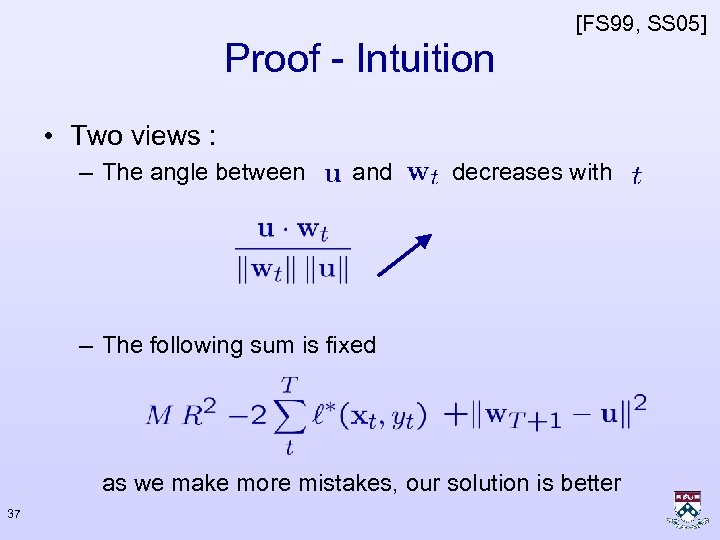 [FS 99, SS 05] Proof - Intuition • Two views : – The angle