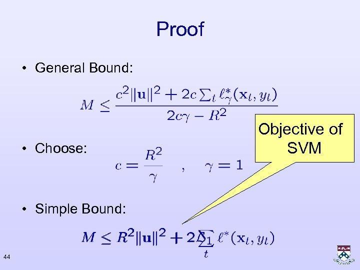 Proof • General Bound: • Choose: • Simple Bound: 44 Objective of SVM