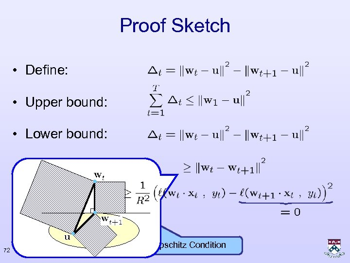 Proof Sketch • Define: • Upper bound: • Lower bound: 72 Lipschitz Condition
