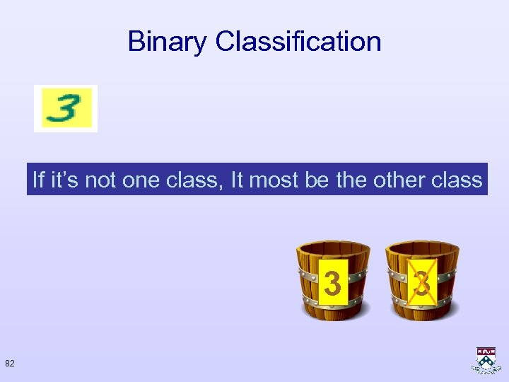 Binary Classification If it's not one class, It most be the other class 3