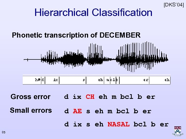 Hierarchical Classification [DKS' 04] Phonetic transcription of DECEMBER Gross error d ix CH eh