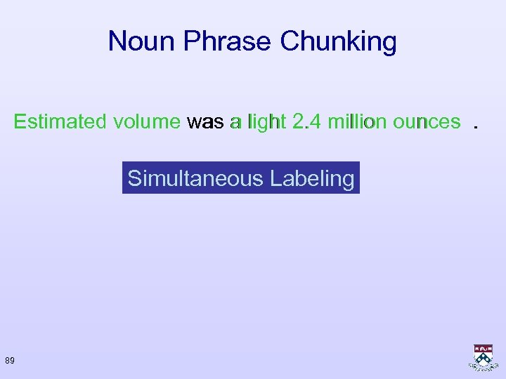 Noun Phrase Chunking Estimated volume was a light 2. 4 million ounces. Simultaneous Labeling