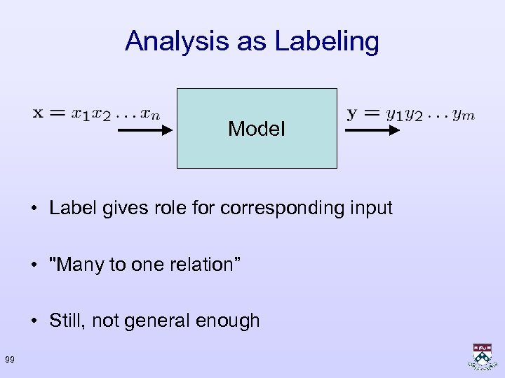 Analysis as Labeling Model • Label gives role for corresponding input •