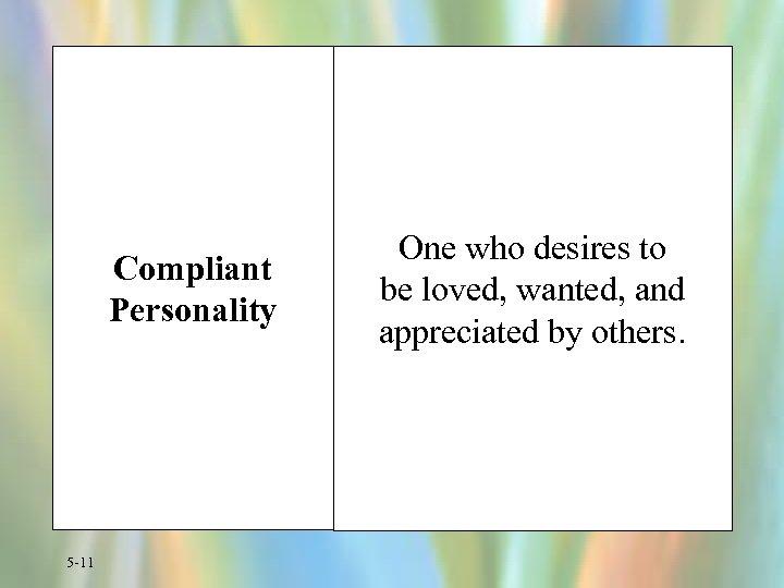 Compliant Personality 5 -11 One who desires to be loved, wanted, and appreciated by