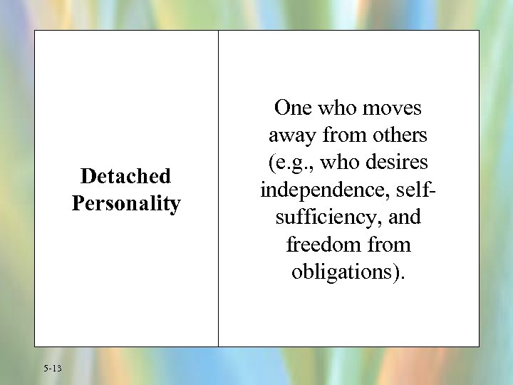 Detached Personality 5 -13 One who moves away from others (e. g. , who