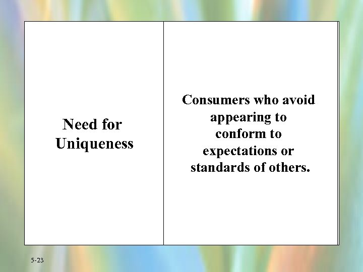Need for Uniqueness 5 -23 Consumers who avoid appearing to conform to expectations or