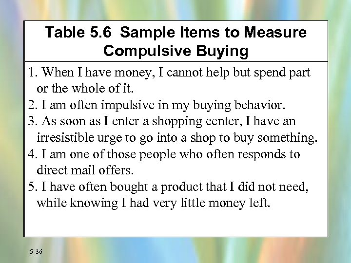 Table 5. 6 Sample Items to Measure Compulsive Buying 1. When I have money,