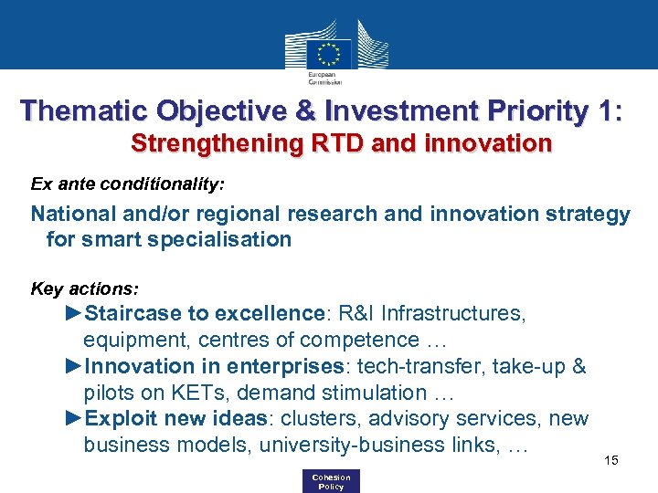 Thematic Objective & Investment Priority 1: Strengthening RTD and innovation Ex ante conditionality: National