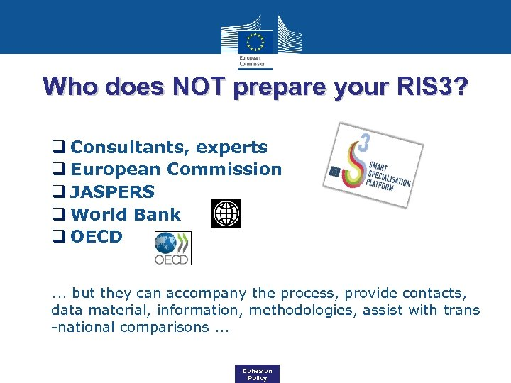 Who does NOT prepare your RIS 3? q Consultants, experts q European Commission q