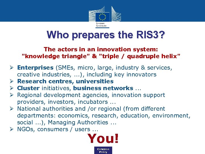 Who prepares the RIS 3? The actors in an innovation system: