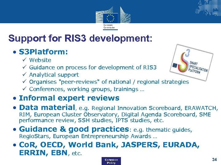 Support for RIS 3 development: • S 3 Platform: ü ü ü Website Guidance