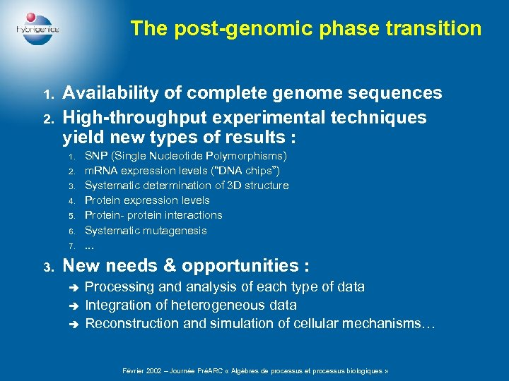 The post-genomic phase transition 1. 2. Availability of complete genome sequences High-throughput experimental techniques