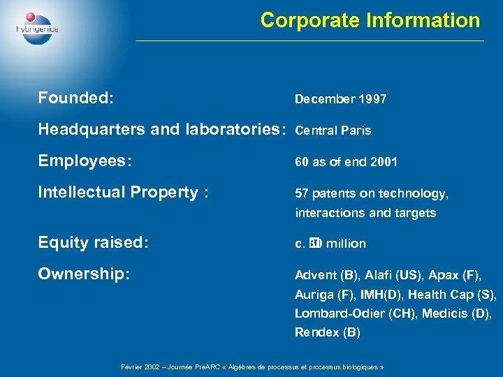 Corporate Information Founded: December 1997 Headquarters and laboratories: Central Paris Employees: 60 as of