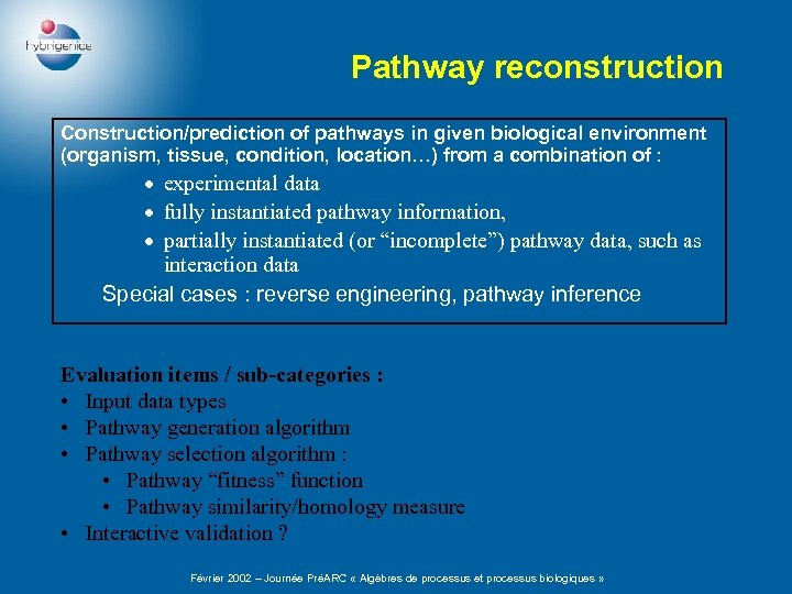 Pathway reconstruction Construction/prediction of pathways in given biological environment (organism, tissue, condition, location…) from