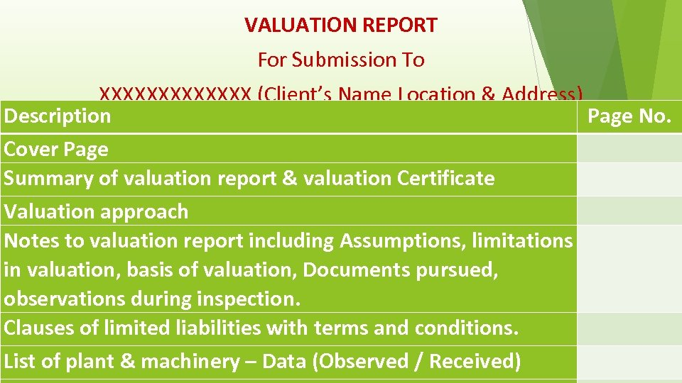 VALUATION REPORT For Submission To XXXXXXX (Client's Name Location & Address) Description Page No.