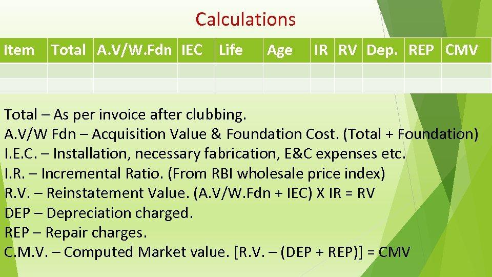 Calculations Item Total A. V/W. Fdn IEC Life Age IR RV Dep. REP CMV