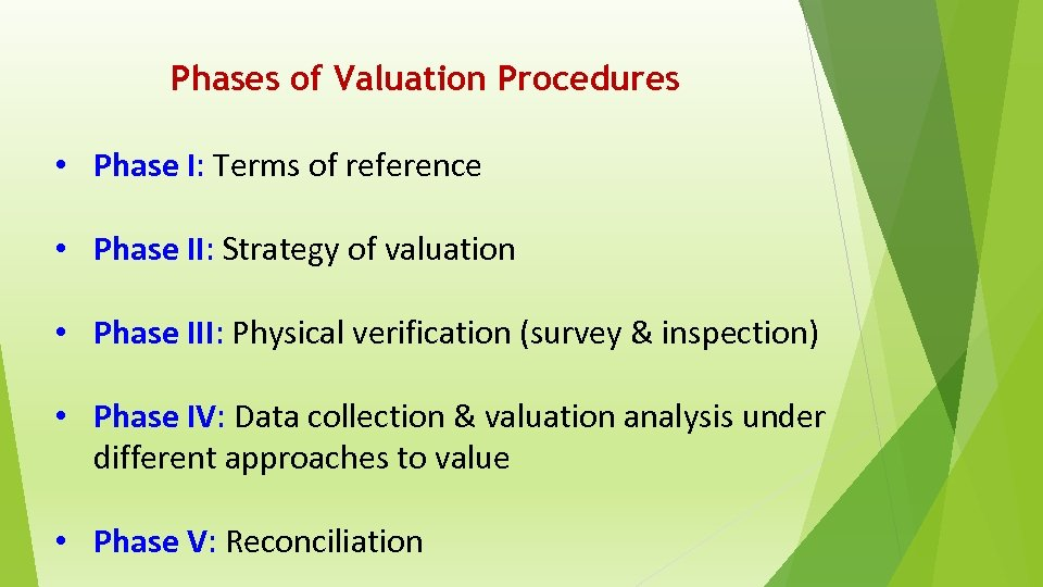 Phases of Valuation Procedures • Phase I: Terms of reference • Phase II: Strategy