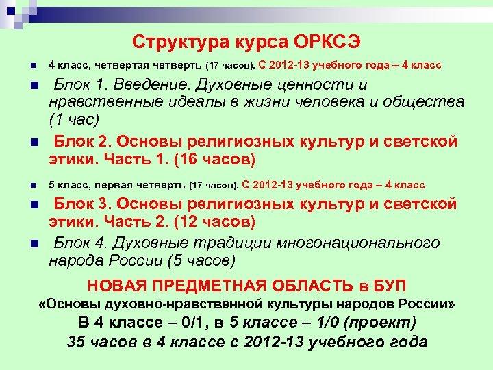 Структура курса ОРКСЭ n 4 класс, четвертая четверть (17 часов). С 2012 13 учебного