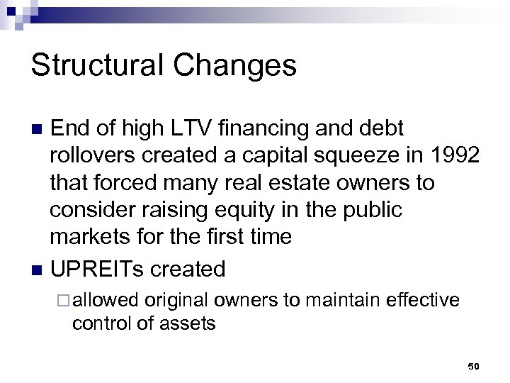 Structural Changes End of high LTV financing and debt rollovers created a capital squeeze