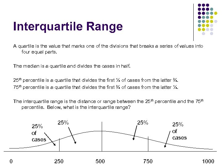 Interquartile Range A quartile is the value that marks one of the divisions that