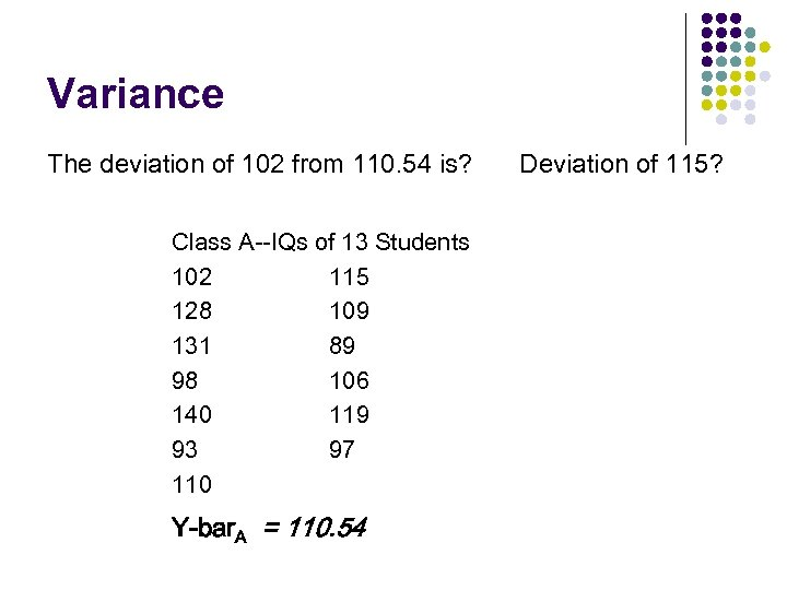 Variance The deviation of 102 from 110. 54 is? Class A--IQs of 13 Students