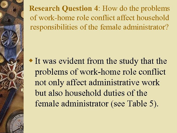 Research Question 4: How do the problems of work-home role conflict affect household responsibilities