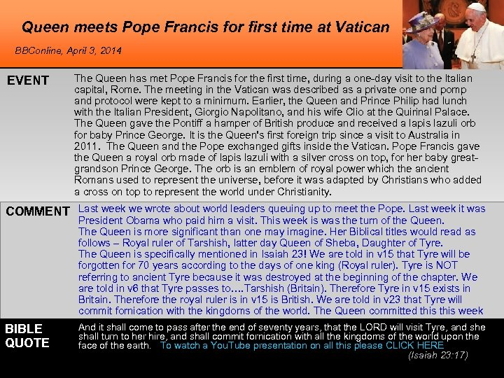 Queen meets Pope Francis for first time at Vatican BBConline, April 3, 2014 EVENT
