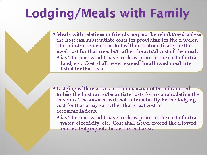 Lodging/Meals with Family • Meals with relatives or friends may not be reimbursed unless