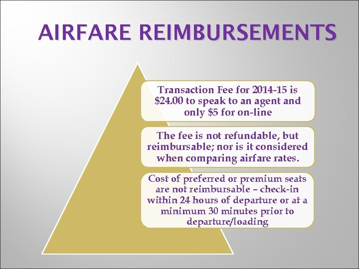 AIRFARE REIMBURSEMENTS Transaction Fee for 2014 -15 is $24. 00 to speak to an