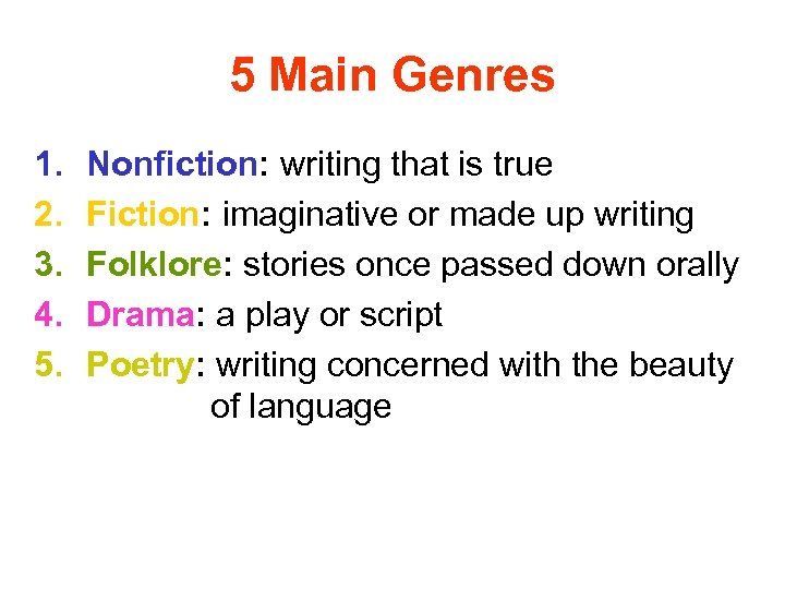 5 Main Genres 1. 2. 3. 4. 5. Nonfiction: writing that is true Fiction: