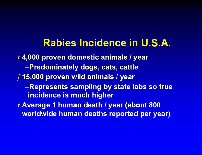 Rabies Incidence in U. S. A. ƒ 4, 000 proven domestic animals / year