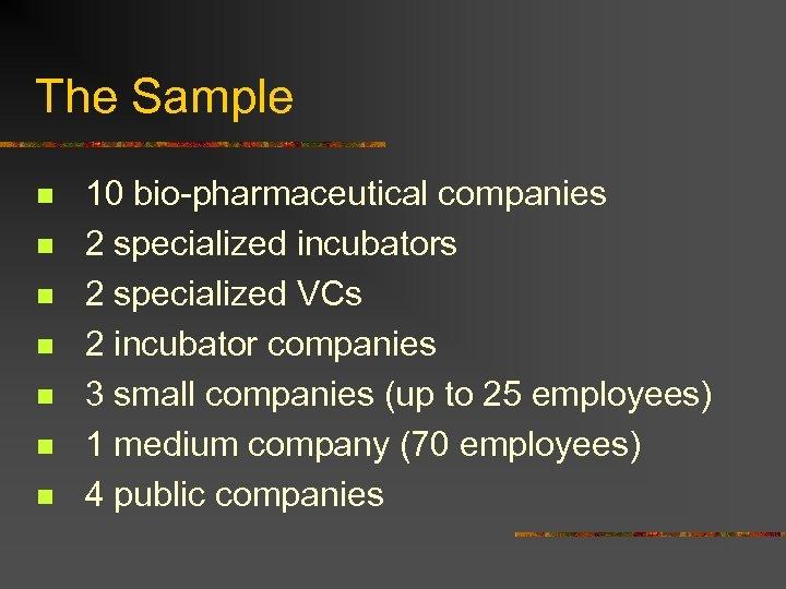 The Sample n n n n 10 bio-pharmaceutical companies 2 specialized incubators 2 specialized
