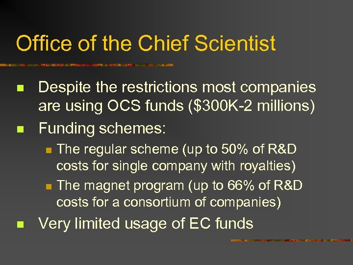 Office of the Chief Scientist n n Despite the restrictions most companies are using