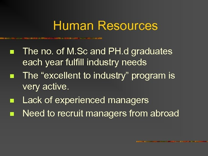 Human Resources n n The no. of M. Sc and PH. d graduates each