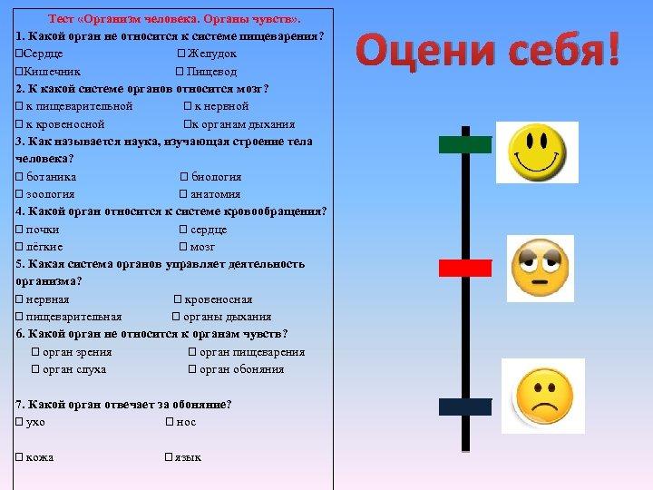 Тест «Организм человека. Органы чувств» . 1. Какой орган не относится к системе пищеварения?