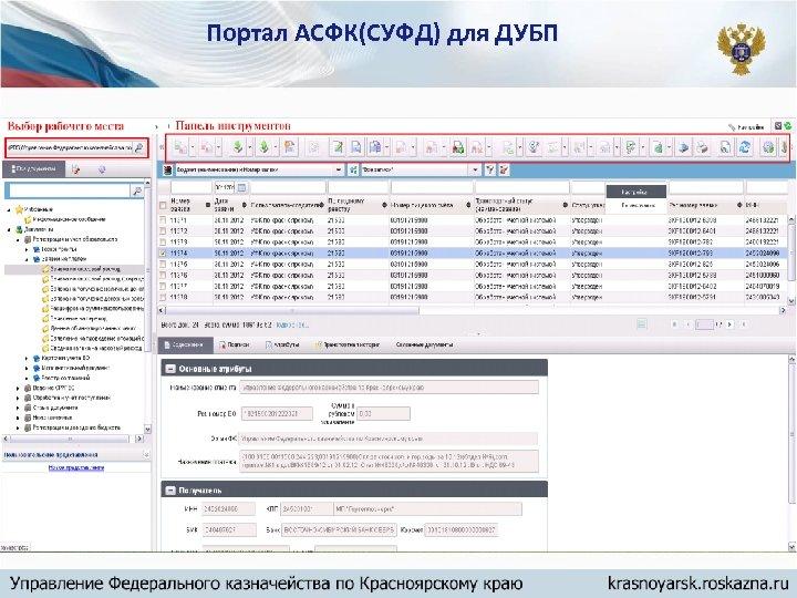 Портал АСФК(СУФД) для ДУБП