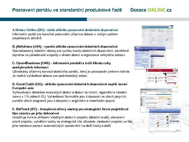Postavení portálu ve standardní produktové řadě Dotace ONLINE. cz A. Dotace Online (DO) -