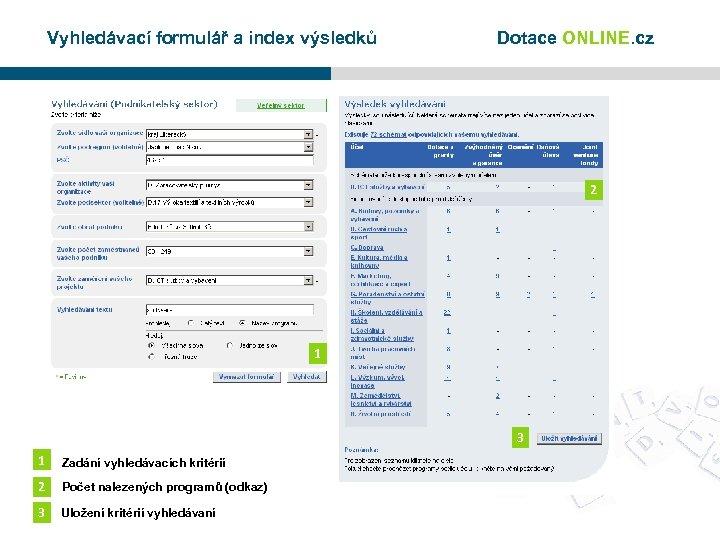 Vyhledávací formulář a index výsledků Dotace ONLINE. cz 2 1 3 1 Zadání vyhledávacích
