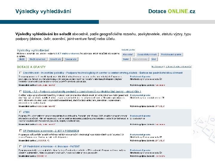 Výsledky vyhledávání Dotace ONLINE. cz Výsledky vyhledávání lze seřadit abecedně, podle geografického rozsahu, poskytovatele,