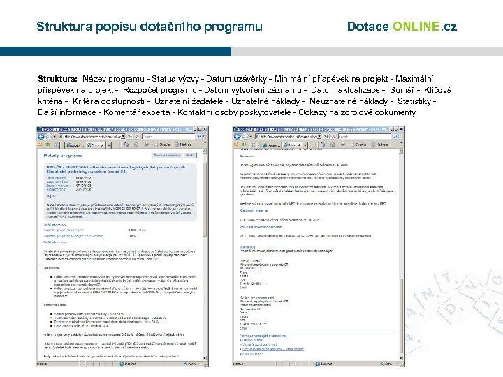 Struktura popisu dotačního programu Dotace ONLINE. cz Struktura: Název programu - Status výzvy -