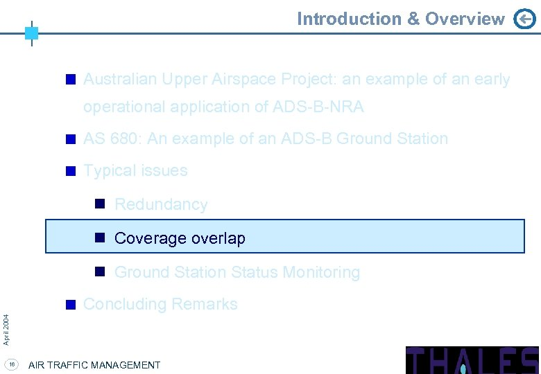 Introduction & Overview Australian Upper Airspace Project: an example of an early operational application